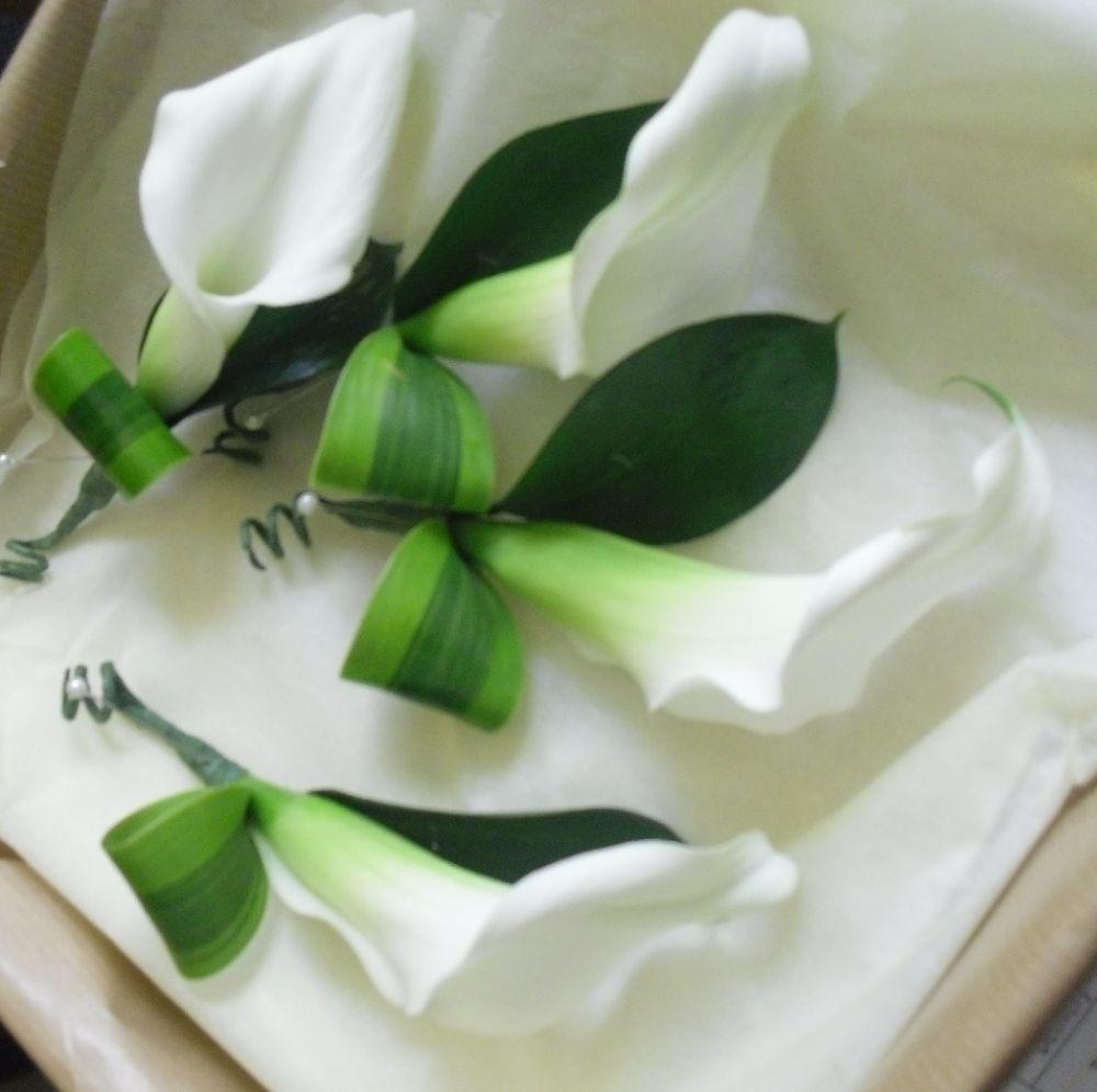 White Calla Lily Buttonholes